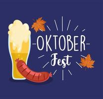 oktoberfestfest, wurst- und bierbeschriftung blattherbst, feier deutschland traditionell vektor