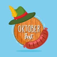 oktoberfest festival, wurst grüner hut und fass, feier deutschland traditionell vektor
