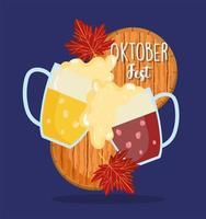 oktoberfest festival, zwei glas toastbecher mit bier, feier deutschland traditionell vektor