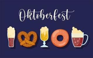 oktoberfest festival, set ikonen bier brezel und donut essen, feier deutschland traditionell vektor