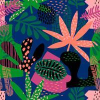 Abstraktes nahtloses Muster mit tropischen Blättern.