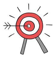 Cartoon-Vektor-Illustration von Bulls Eye und Dart traf das Ziel vektor