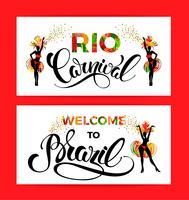 Karneval in Rio. Schriftgestaltung mit Hand zeichnen Textur.