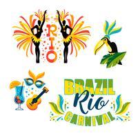 Brasiliansk karneval. Stor uppsättning vektoremblem vektor