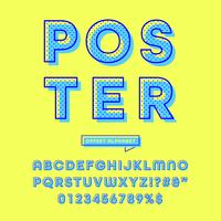 retro offset avrundat alfabet vektor
