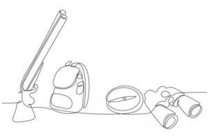 durchgehende Strichzeichnung von Ausrüstung für die Jagdvektorillustration vektor