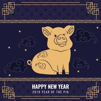 Vektor 2019 Kinesisk nyårsbakgrund