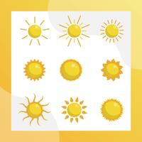platt sol clipart vektor samling