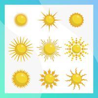 Flache Sonne Clipart Vektor-Sammlung vektor