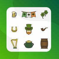 Platt Moderna St Patrick Dag Vektor Clipart Collection