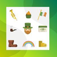Flacher einfacher moderner St Patrick Tagesvektor Clipart Sammlung