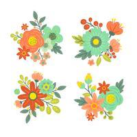 Set av Vintage Flower Vector