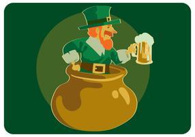 St. Patrick mit Bier am Topf-Vektor
