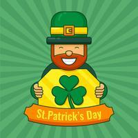 St. Patrick's Day Kobold und Klee vektor