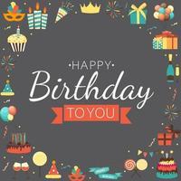 Netter alles Gute zum Geburtstaghintergrund mit Geschenkbox, Kuchen und Kerzen und anderem Gestaltungselement für Partyeinladung, Glückwunsch. Vektor-Illustration eps10 vektor