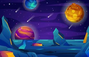 Galaxieansicht mit schönem Planeten vektor