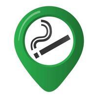 Raucherbereich Marker Karte Pin Symbol Zeichen mit flachem Design Gradientenstil Zigarette im grünen Kreis. Symbol des Raucherbereichs in den Karten-Apps isoliert auf weißem Hintergrund vektor