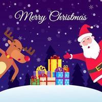 der weihnachtsmann und die rote nase weihnachten rentier tanzen und wünscht frohe weihnachten vektor