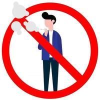 Rauchverbot mit stehenden männlichen Jungen. verbotenes Zeichensymbol isoliert auf weißem Hintergrund-Vektor-Illustration. Junge raucht Zigarette, roter Verbotskreis isoliert auf weißem Hintergrund. vektor