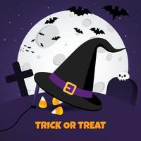 Happy Halloween Poster mit großem Hexenhut und Süßigkeiten auf dem Grabboden can vektor