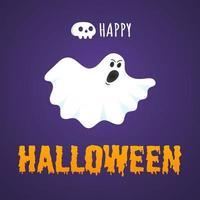 Happy Halloween Text Postkarte Banner mit Geist with vektor