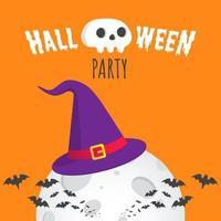 Halloween-Party-Textpostkartenbanner mit großem Hexenhut, Fledermäusen, großem Mond vektor