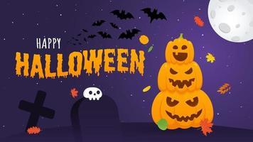 glückliche halloween-kürbisse mit gruseligen gesichtern ausdruck grimasse, mit mond vektor