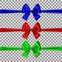 Satz blaue, rote und grüne Bögen auf transparentem Hintergrund. Vektor-Illustration vektor