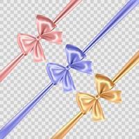 Satz blaue, goldene und rosa Schleifen auf transparentem Hintergrund. Vektor-Illustration vektor