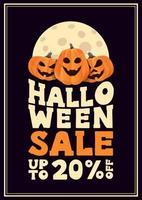 Halloween-Verkauf, bis zu 20 Rabatt, vertikales typografisches Poster mit Kürbissen vektor