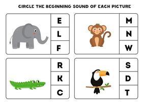 Arbeitsblatt für Kinder. den Anfangsklang finden. Cartoon-Tiere. vektor