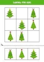 Sudoku-Spiel für Kinder mit Cartoon-Weihnachtsbäumen. vektor