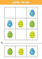 Sudoku-Spiel für Kinder mit Cartoon-Ostereiern. vektor