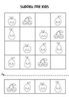 Sudoku-Spiel für Kinder mit süßen schwarzen und weißen süßen Früchten. vektor