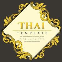 dekorativer Vintage-Rahmen für Einladungen, Rahmen, Menüs, Etiketten und Websites. elegantes Vektorelement im östlichen Stil, Platz für Text. thailändisch traditionell vektor