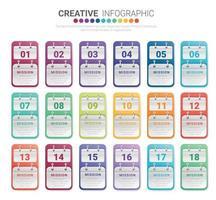 Infografik-Design-Vorlage mit Nummern 18 Option vektor