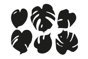 Silhouette von Monstera-Blättern. Set isoliert auf weiss. flache Vektorillustration. vektor