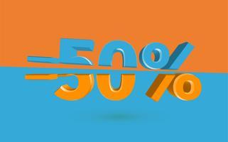 3D-försäljning illustration med snittprocent, vektor
