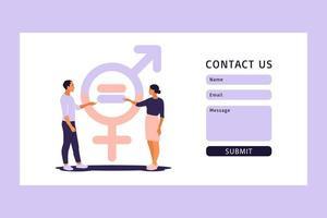 Konzept der Geschlechtergleichstellung. Kontaktieren Sie uns Formular für Web. Männer und Frauen auf der Gleichstellungsskala Vektor-Illustration. eben. vektor