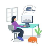 langsames Laden der Internetverbindung Vektor-Illustration-Konzept vektor