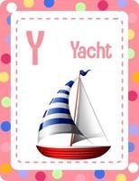 Alphabet Karteikarte mit Buchstaben y für Yacht vektor