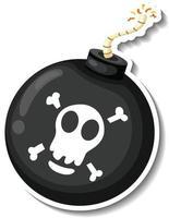 Aufklebervorlage mit Piratenbombe isoliert vektor