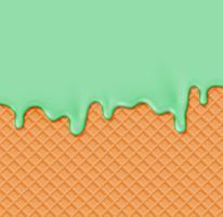 Realistische Waffel mit schmelzender Creme auf ihr, Vektorillustration