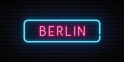 Berliner Leuchtreklame. helles licht schild. vektor