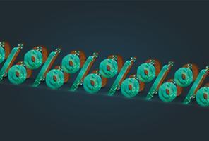 Hög detaljerad trä och glas procent tecken, vektor illustration