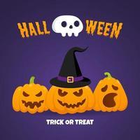 glückliche halloween-kürbisse mit gruseligen gesichtern ausdruck grimasse vektor