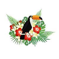Tropisk bakgrund med toucan, blommor och tropiska blad