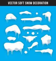 Snöhattar, snöbollar och snödäckssats. Snöflinga vektor samling. Vinterdekorationselement. Snöiga element på vinterns bakgrund. Teckensmall. Snöfall och snöflingor i rörelse. Illustration.