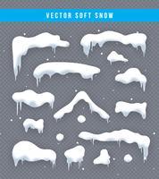 Schneekappen, Schneebälle und Schneeverwehungen eingestellt. Schneekappen-Vektor-Sammlung. Winterdekorationselement. Snowy-Elemente auf Winterhintergrund. Comic-Vorlage. Schneefall und Schneeflocken in Bewegung. Illustration.