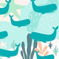 Nahtloser Musterhintergrund des bunten Seelebens mit Walen vektor